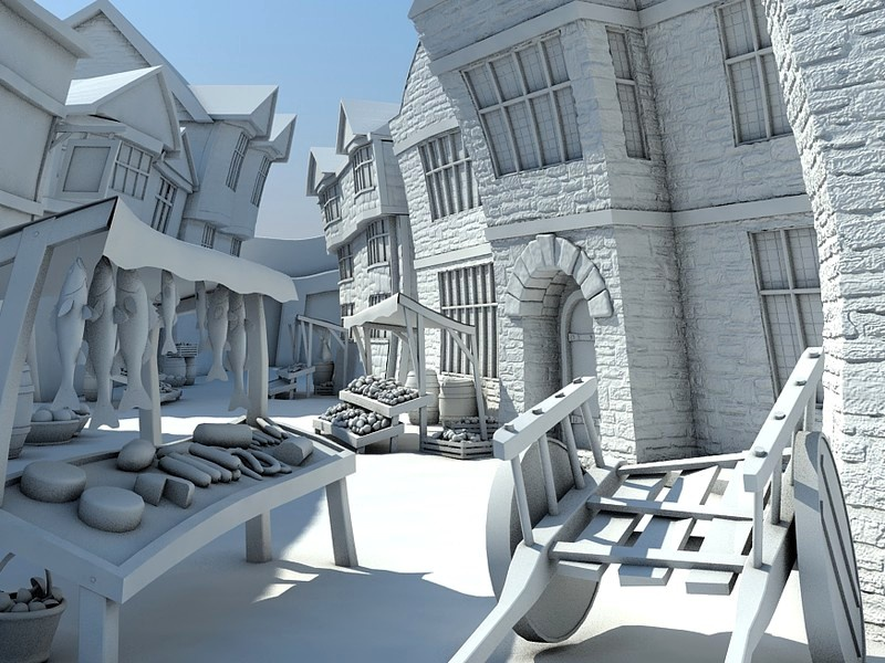 Ancient Market Place 3d vray game market ancient visualization render 3ds max ipad
