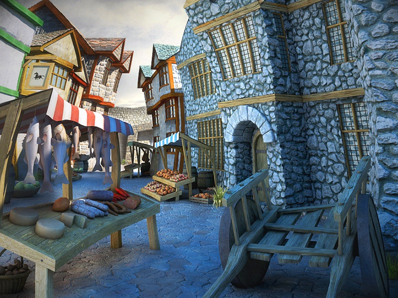 Ancient Market Place with texture 3d vray game market ancient visualization render 3ds max ipad texture