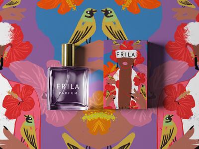 Frila Perfume Packaging + Branding branding concept cosmetic logotype purple pink beauty fashion typography logo minimal abstract design concept art packaging modern illustration branding