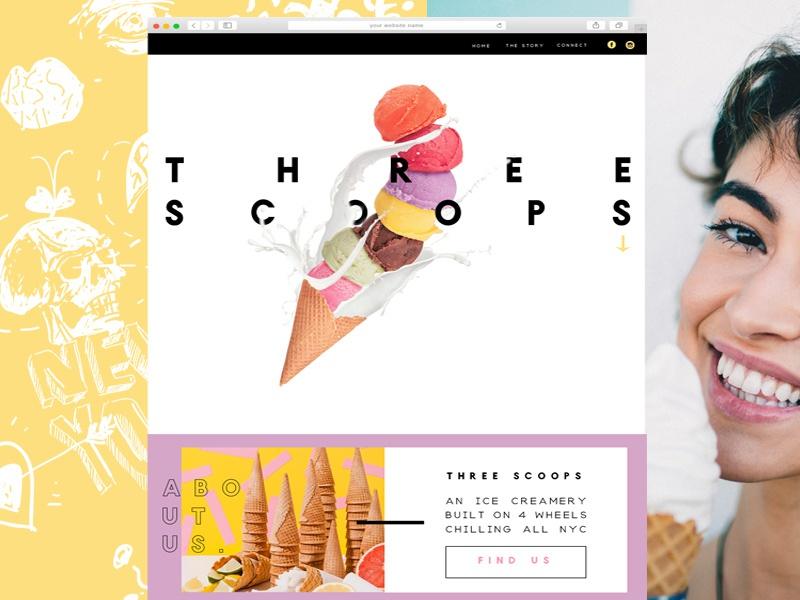Three Scoops website and branding collateral bootstrap wordpress visual design ui drawing illustration minimal landing page vector branding ux website design