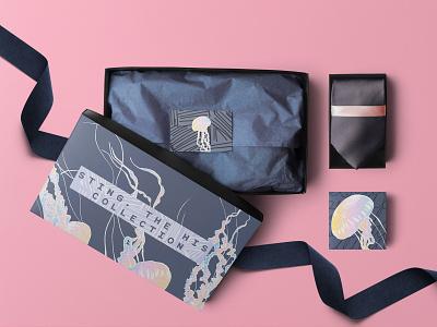 Sting, a Fashion Label Packaging Design black letterpress beauty fashion ux design typography ocean sea blue vector logo minimal abstract pink concept art packaging modern illustration branding