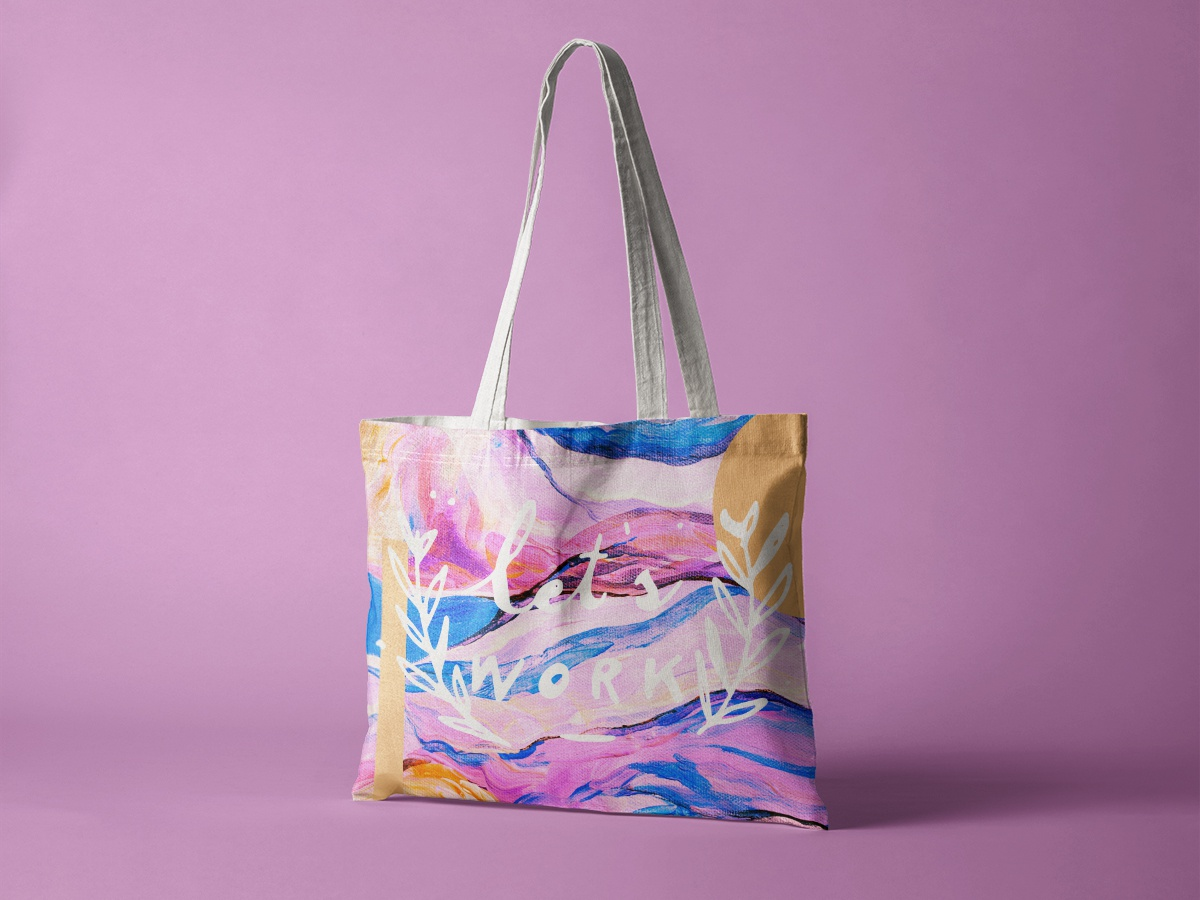 Eco Friendly Tote + Screen Printing design logo fashion ecofriendly sustainable beauty blue typography modern pink minimal illustration typogaphy type daily type abstract concept art watercolor packaging branding
