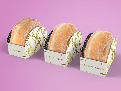Iced Luxe Donut Packaging + Branding lettering type vector design food letterpress concept art icon gold foil gold minimal logo ui branding modern typography illustration donuts donut packaging