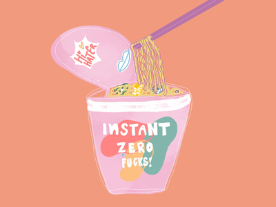 Amiright!? Instant Noodles. lettering type typography painting vector icon noodles food yellow pink poster minimal drawing logo ux ui illustration branding