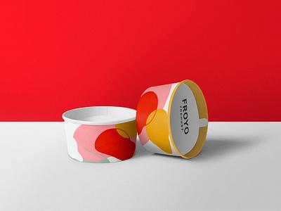 Frozen Yoghurt Packaging logo abstract yellow red pink packaging minimal ux ui vector branding