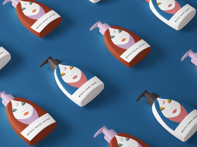 Mystic Lotion Packaging + Branding fashion cosmetics orange pink typography type minimal logo a day logo beauty cosmetic design blue abstract vector illustration packaging modern branding