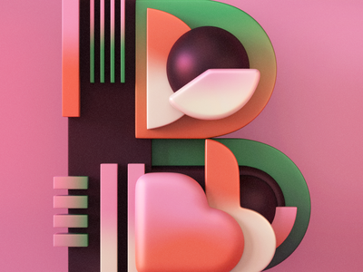 Type Fighter   Letter B trend font geometric font geometric design geometric alphabet b pink orange green gradient type vector typography abstract 3d illustrator letter photoshop lettering