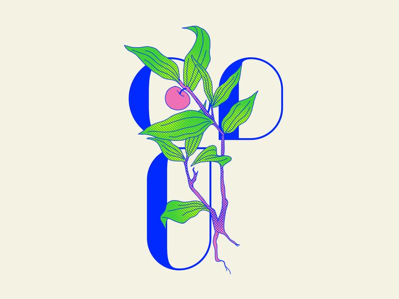 Type Fighter 2019   Letter G botanic halftone tree cherry geometric plant illustrator letter photoshop illustration lettering