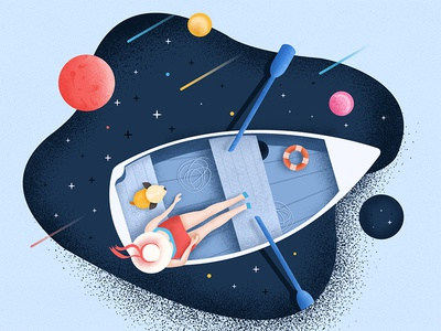 Traveling in space with dog illustration design illustration cosmic starry sky traveling in space with dog
