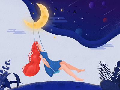 Swinging girl drawing illustration blue swing girl space plant moon