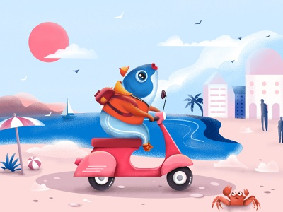 Fish on electric bicycles on the beach blue motorcycle electric bicycle beach ball ocean crab pink fish illuatration