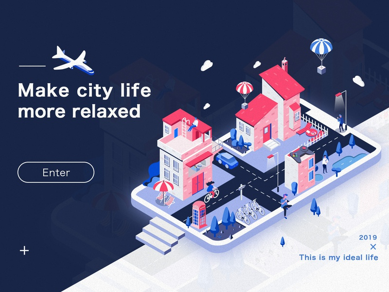 City Lifestyle design lifestyle tree color aircraft house people 2.5d isometric art city illustration