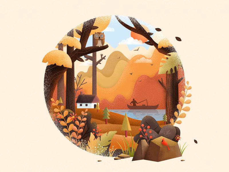 Forest Travel - Autumn bird owl stone flowers yellow design plant illustration autumn leaves