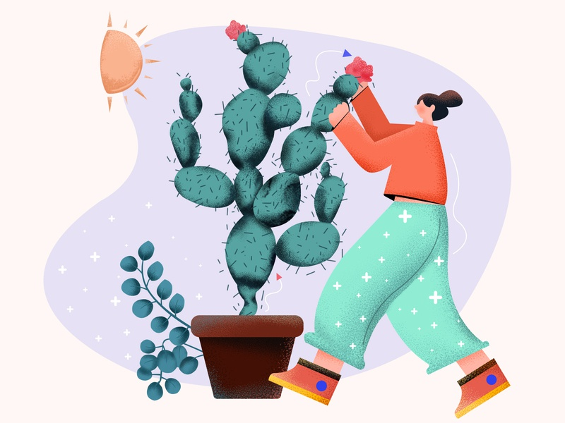 The girl held the cactus and smelled the flowers cactus-needle orange red leaves sunshine green flowers catus color girl illustration