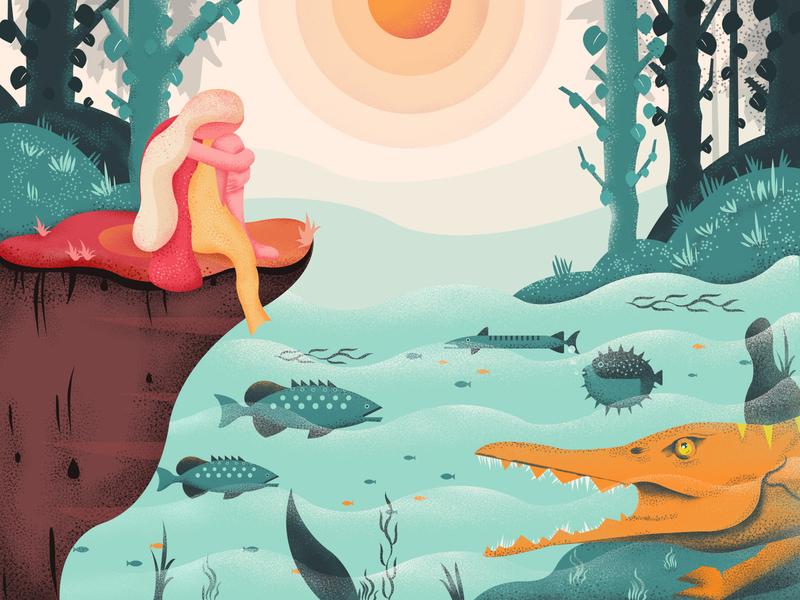 Girl And Crocodile terrorist afraid river plant orange design fishes green crocodile red color girl illustration