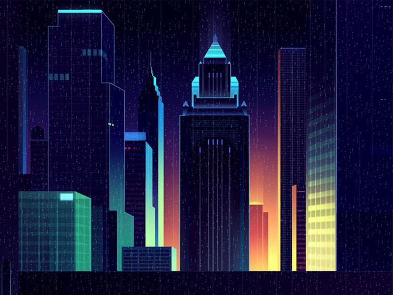 City by night cool light yellow blue buildings night city illustration
