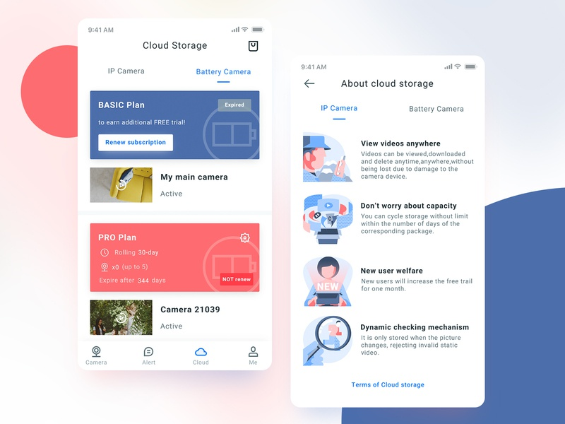 Cloud storage UI page smarthome color blue red cloud storage ui design illustration