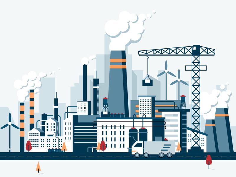 Factory illustration building digital smog color login system power plant blue illustration factory