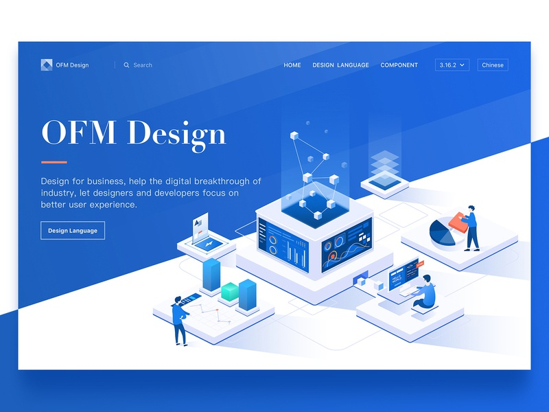 Home Page - OFM Design siemens statistics product programmer isometric home page drawing data code blue illustration dimensional illustration