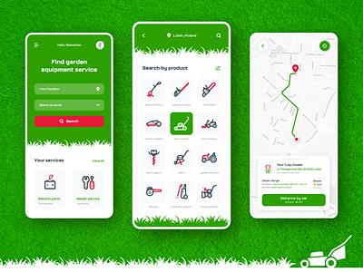 lawn mower app mobile ui mobile design mobile app mobile app
