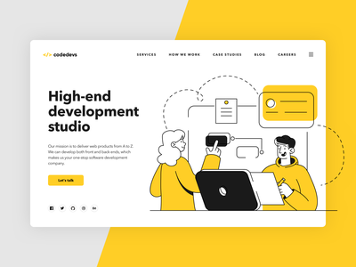 Codedevs - landing page simple clean landing page web design ui product design