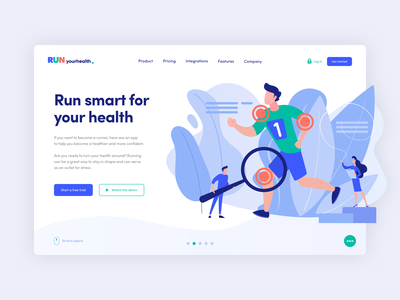 RUN - landing page illustration simple clean product design landing page web design