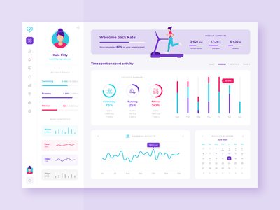 Fitness dashboard clean ux ui dashboad web design product design