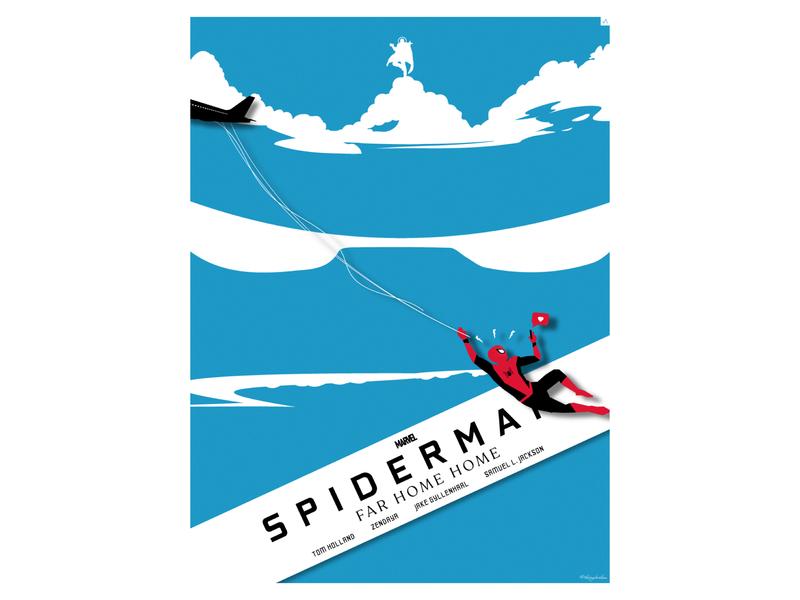 Spiderman: Far From Home bangladesh dhaka ja poster design avengers marvel far from home spiderman vector flat minimal illustration