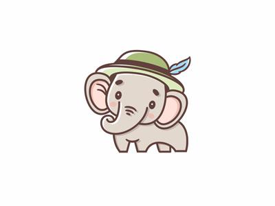 Baby elephant logo cute logo animal logo baby camp logo summer camp logo preschool logo adventurer logo baby logo baby elephant logo