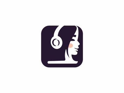 Audiobook app logo woman logo smart book logo woman book logo book logo audiobook logo