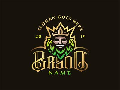 Beer king logo label design beer label hops king beer hops logo druid logo beer king logo king logo beer logo