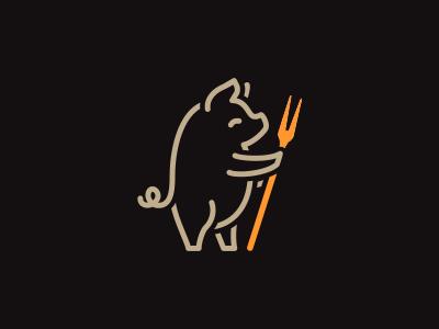 Pig logo piggy back snacks logo snacks linear pig piggy