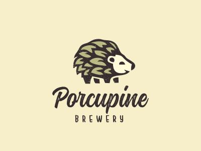 Porcupine & hops logo craft beer logo porcupine brewery logo hops logo porcupine logo
