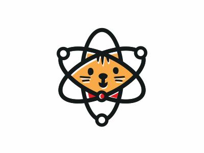 Schrödinger's Cat (Physics + Cat) logo concept