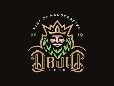 Druid beer logo man logo logo label design king logo king beer logo hops logo craft beer logo beer logo beer label