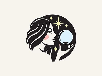 Woman psychic medium logo magic logo woman logo woman medium logo spiritualism logo spiritualist logo witch logo psychic medium logo