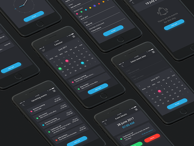 Calendar App Dark Design design  ux app design ui minimal ios graphic freelance design debut application app