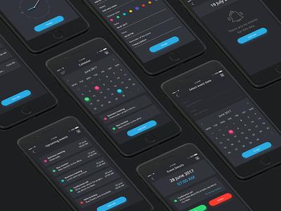Calendar App Dark Design