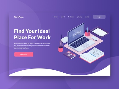 Landing Page Concept For Coworking Company ui design web design website residential ux ui minimal layout landing header freelance design