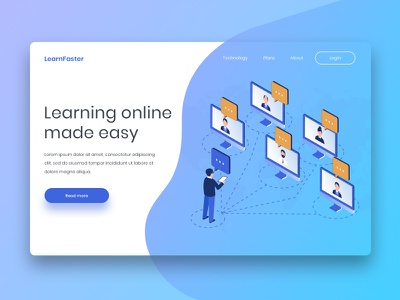 Landing Page Concept For E-learning Platform design freelance header landing layout minimal ui ux e-learning website web design ui design