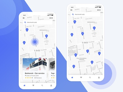 Find a mechanic - Mobile app concept - Map view