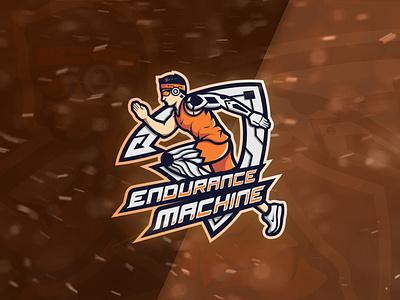 """""""Endurance machine"""" Logo design male version designer design running runner run logo illustration mascot branding brand symbol vector logo"""