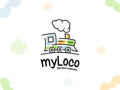My loco logo illustration vector symbol logo design kids store child children logotype designer design logo locomotive loco