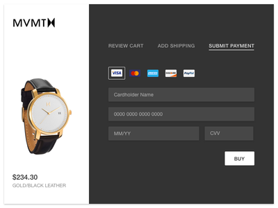 Daily UI #002 Checkout ecommerce checkout cart creditcard 002 dailyui
