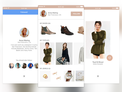 Daily UI User Profile #006 material ui daily follow detail product ecommerce mobile