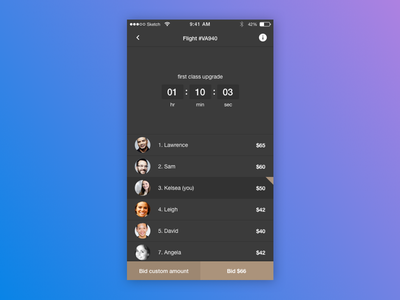 Daily UI #014 Countdown timer app list leadrerboard challenge 014 ios mobile timer countdown ui daily