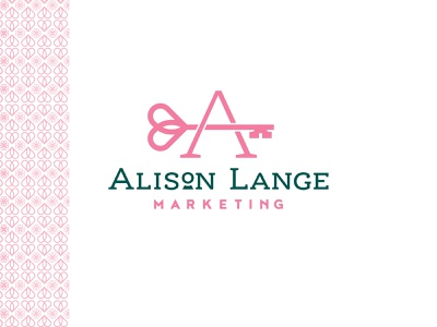 Alison Lange Marketing Approved Logo pattern logotype typeography clever logodesign keyhole key heart identity brand concept branding design icon logo