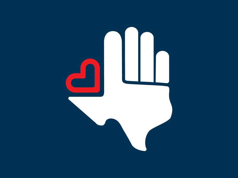 Texans For Texans unused concept state iconic hand helping love heart texas graphic identity brand concept branding icon design logo