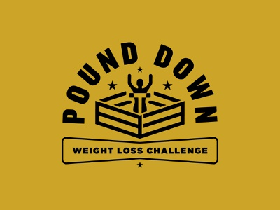 Pound Down Weightloss Badge design identity icon branding tough ring scale competition fight weight loss badge logo