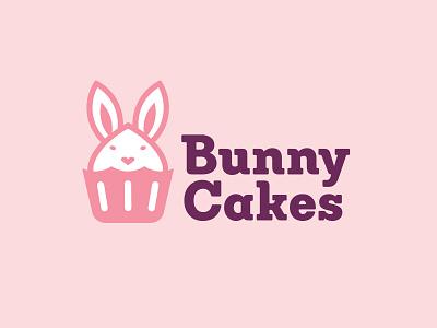 Bunny Cakes Logo brand logodesign baking bakery cute concept identity branding rabbit logo bunny cupcake logo cupcake